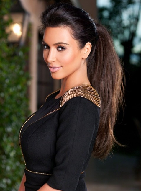 Kim Kardashian Long Hairstyles High Ponytail Hairstyle PoPular