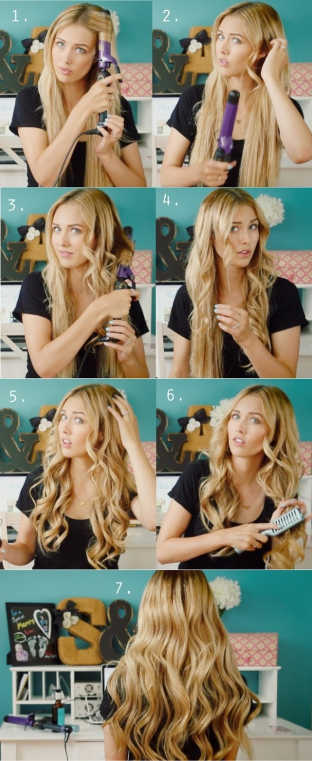 loose curls tutorials: long curly hairstyles for girls