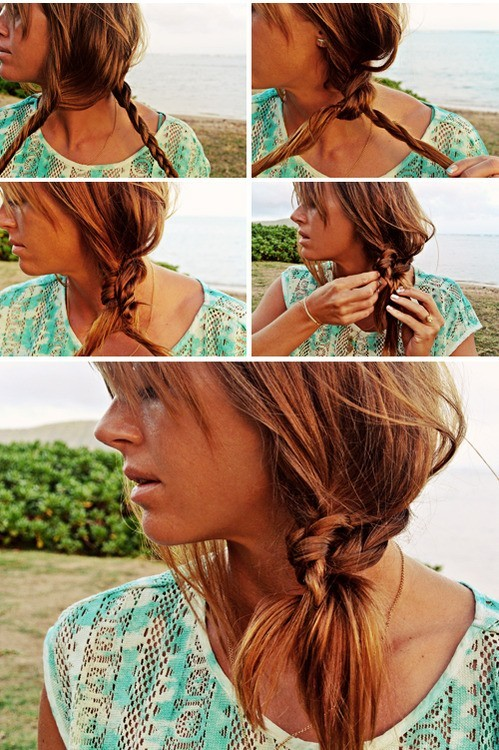 Beach Hairstyle Ideas Knotted Braid Side Ponytail Hairstyle