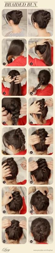 cute braided bun hairstyle tutorial