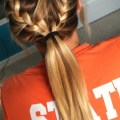 French braids into high ponytail
