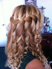 waterfall braid with curls wedding hairstyle waterfall