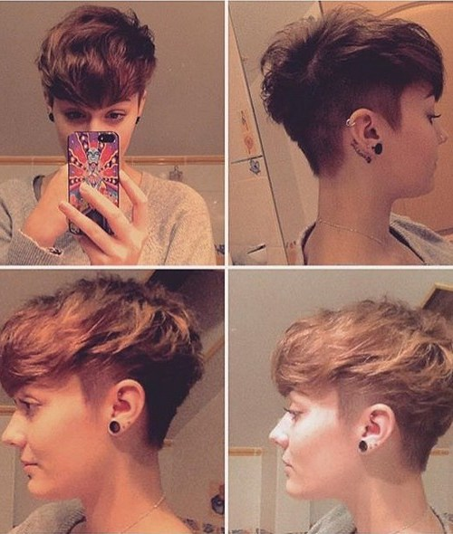 Messy, Shaved Short Haircut - Women, Girls Hairstyle Ideas 2016