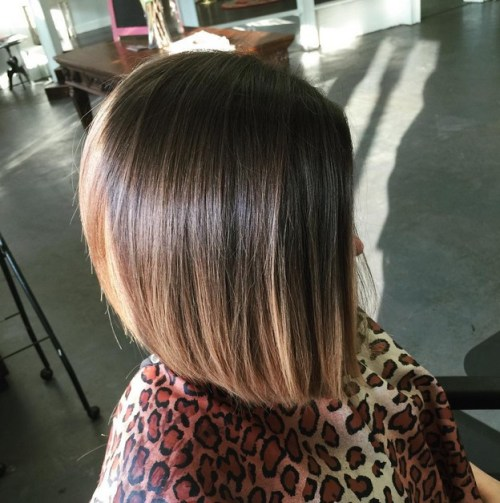 Subtle ombre angled bob hairstyle