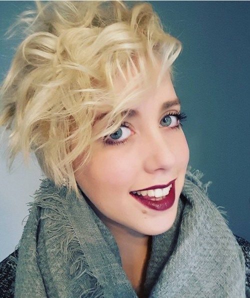 Messy, Blonde Curly Long Pixie Hairstyle with Side Bangs