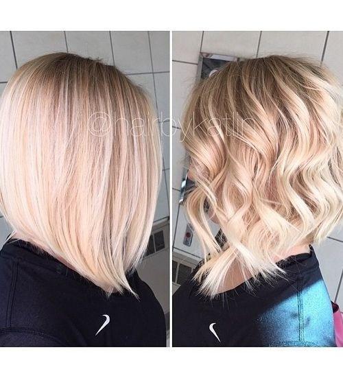 Long angled bob haircut for thcik hair - Balayage hairstyles