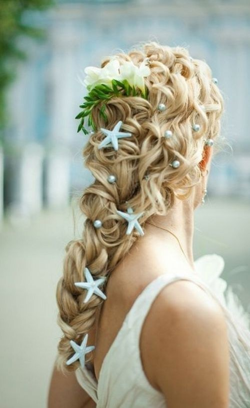 Beach Theme Wedding - Wedding Braid with Blue Starfish Decorations and Pearls
