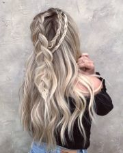 messy braided long hairstyle