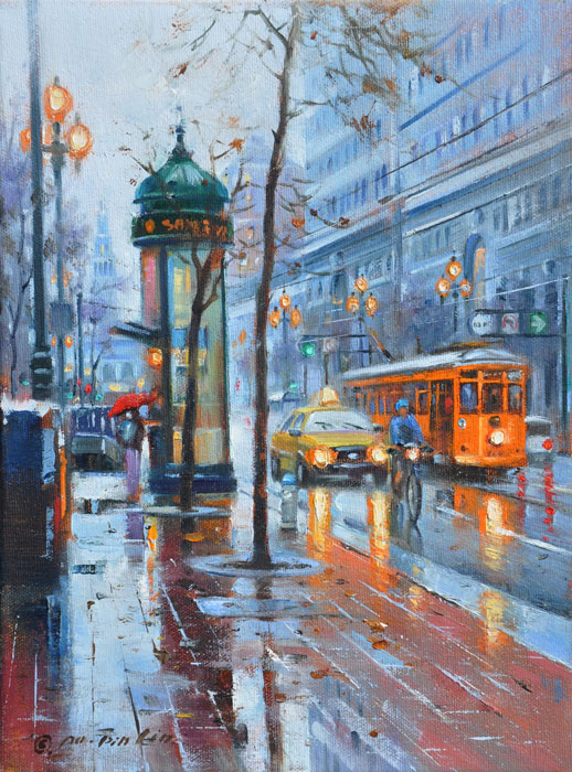 Rainy Day on Market, 12x9 (SOLD)