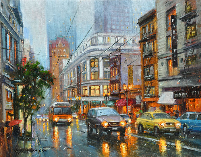Sutter Street Downpour SF, 11x14 (SOLD)