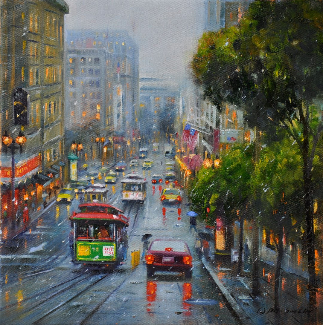 Winter Dusk at Powell St,12x12 (SOLD)