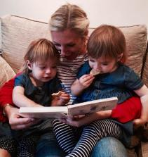 Reading stories with the twins