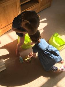twins learning how to use the potty