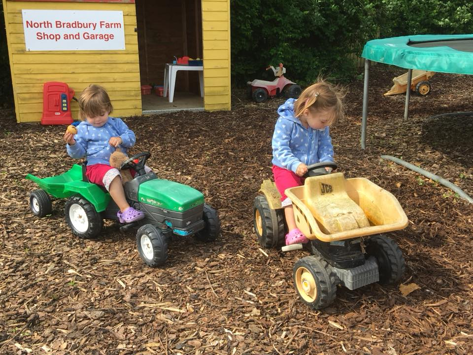 The Popitha Twins playing in the toddler play area North Bradbury Farm