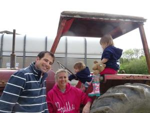The popitha twins at North Bradbury Farm on the tractor