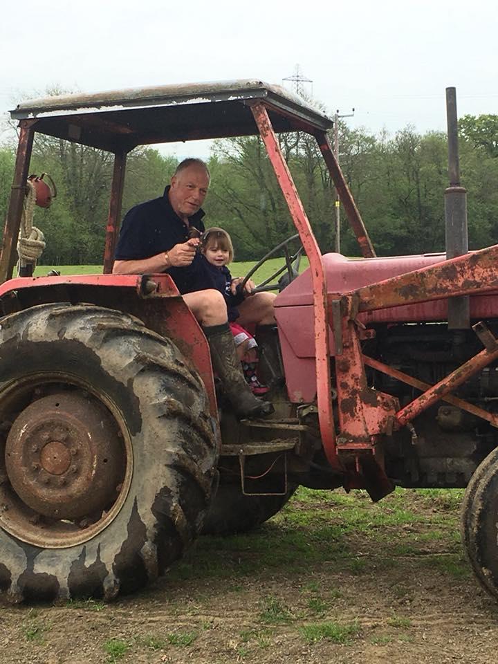 The Popitha Twins riding the tractors at North Bradbury Farm