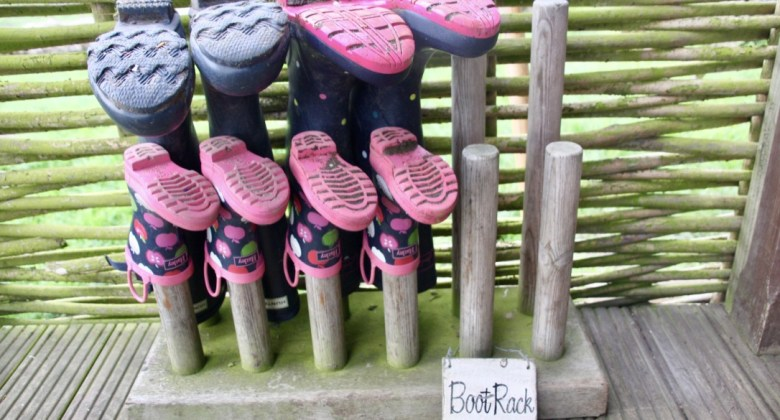 Wellies on the veranda at the dandelion hideaway glamping safari tent