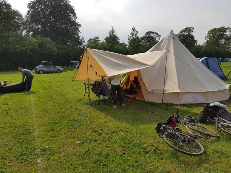 Twin boys Camping with tipi tent