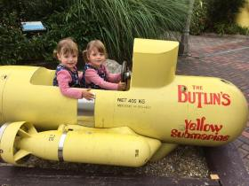 Twins in a mini submarine at Butlins Just for Tots weekend