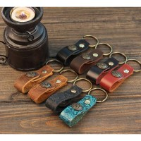 Leather Key Strap Retro Leather Key Ring Holder Handmade ...
