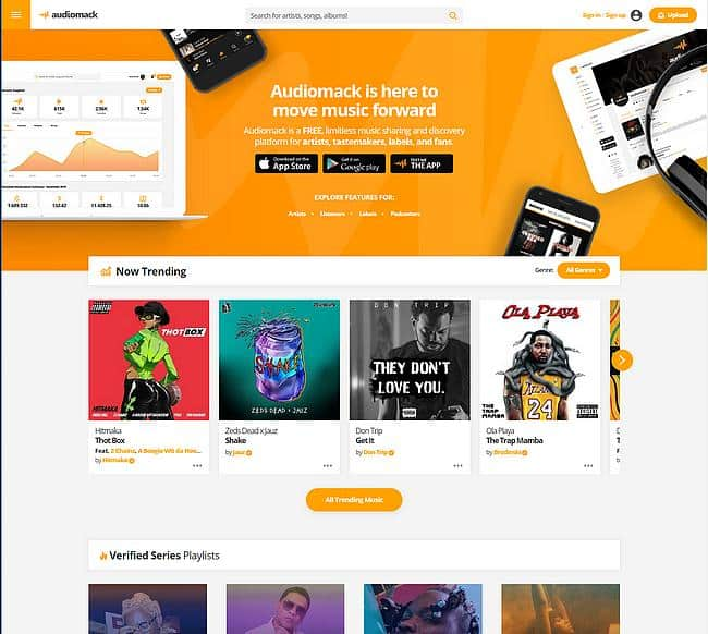 Webseite Audiomack