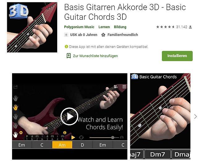 Basis Gitarren Akkorde 3D - Basic Guitar Chords 3D