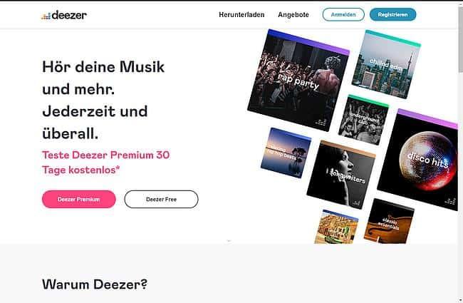 Deezer Internetseite