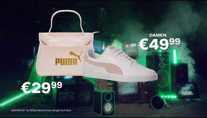 Screenshot aus der DEICHMANN PUMA x BEBE REXHA Werbung