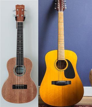 Gitarre und Ukulele