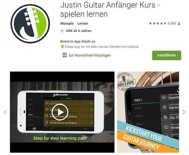 Justin Guitar Anfänger Kurs - spielen lernen