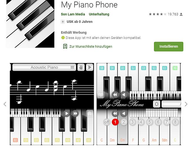 My Piano Phone app