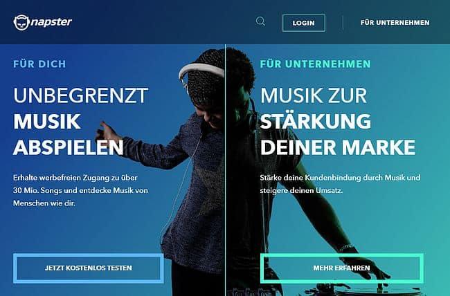 Napster Internetseite