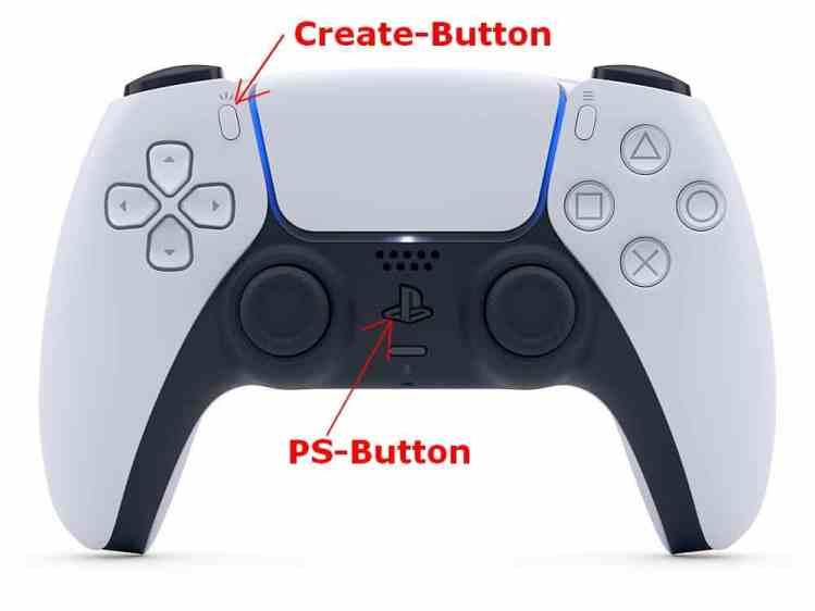 PS5 Controller Create und PS5 Button