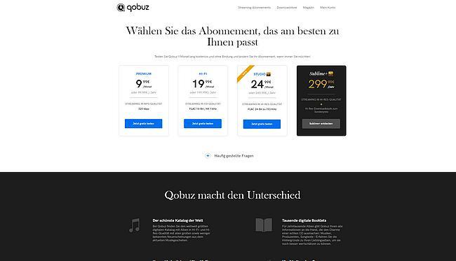 Qobuz Webseite