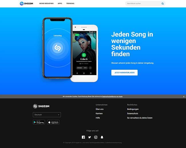 Shazam Webseite