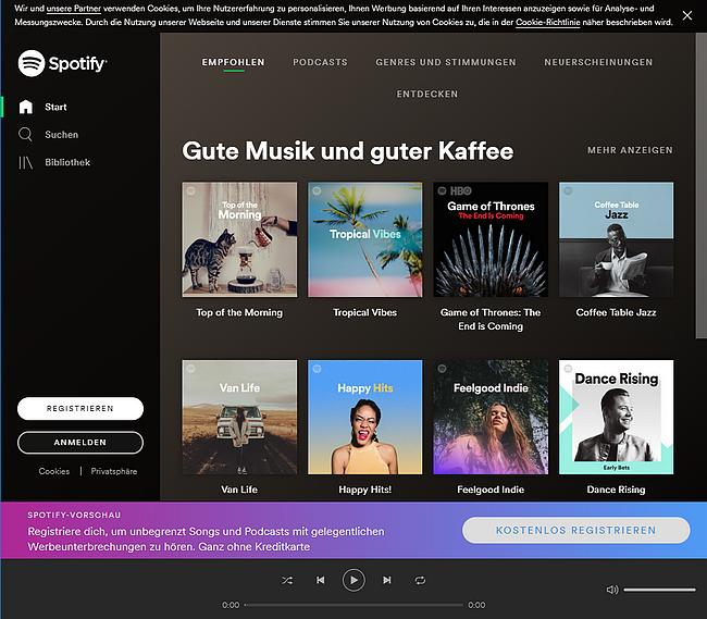 Spotify Webseite