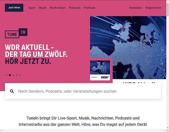 TuneIn Webseite