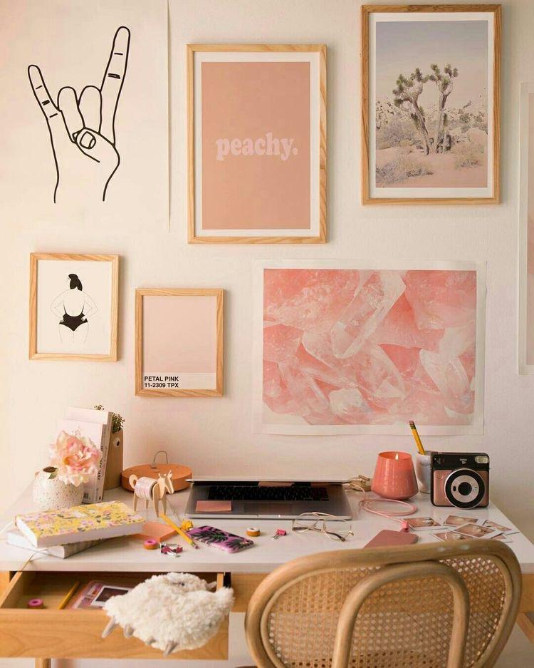 #pinkoffice #officedecor #summerofficerefresh | Poplolly co
