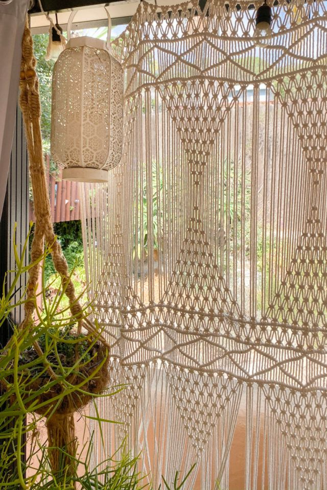Lanterns and curtains for a cozy outdoor room, moroccan outdoor decor | Poplolly co