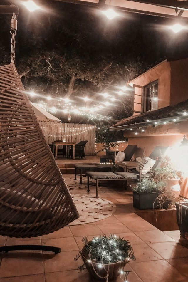 Cozy Fall Outdoor Rooms twinkle lights | Poplolly co