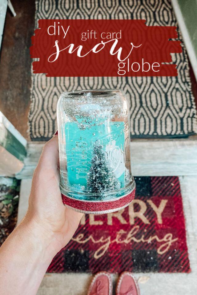 mason jar snow globe tutorial diy with gift card | Poplolly co