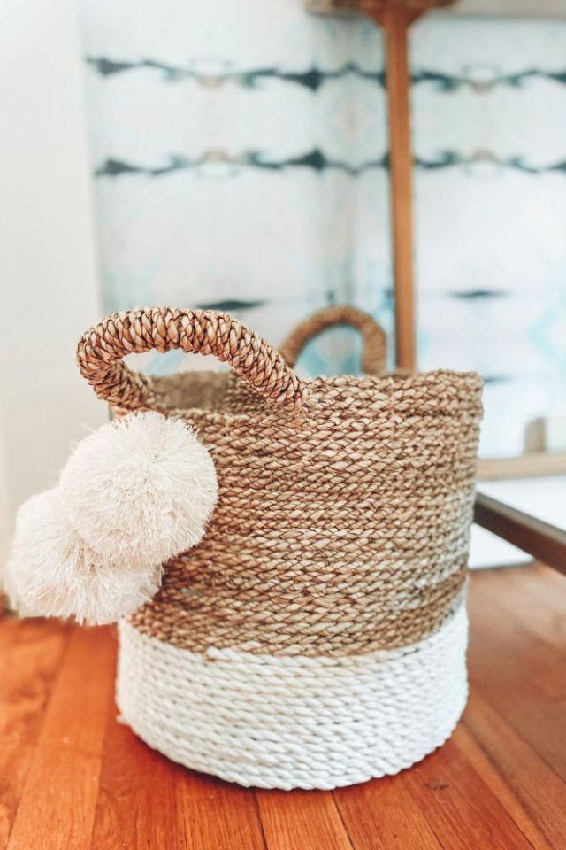 Pom pom rattan basket from Home Goods | Poplolly co