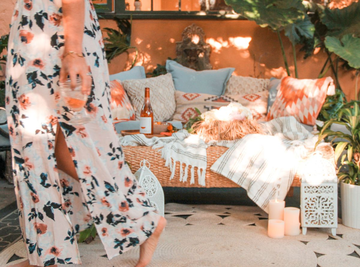 happy hour ideas for home with Flat Top Hills Wine | bohemian patio decorating ideas | Poplolly co