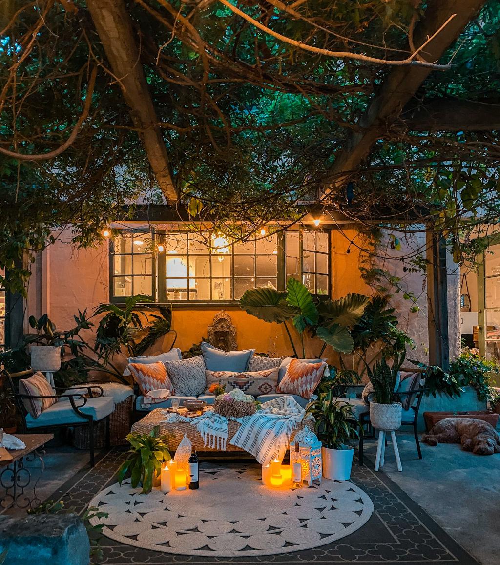 beautiful lighting for a magical patio | bohemian outdoor decor | backyard ideas | world market decor | mediterranean garden | Poplolly co