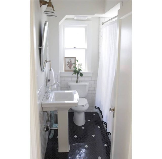1920s bathroom with black and white vintage tile | Poplolly co