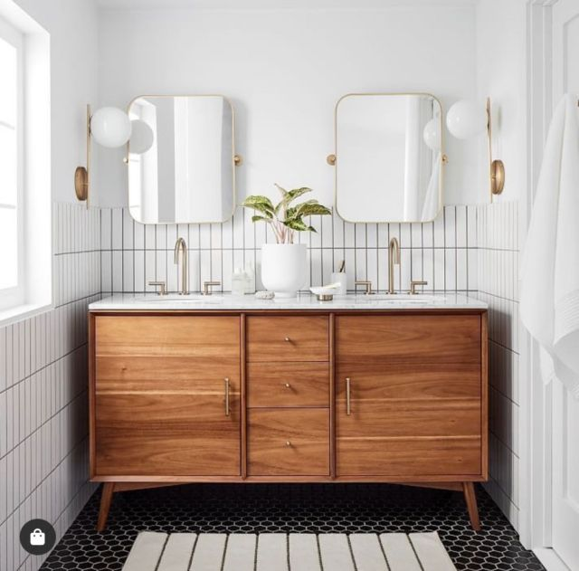 mid century bath console with black and white hexagon tile and brass mirrors | Poplolly co