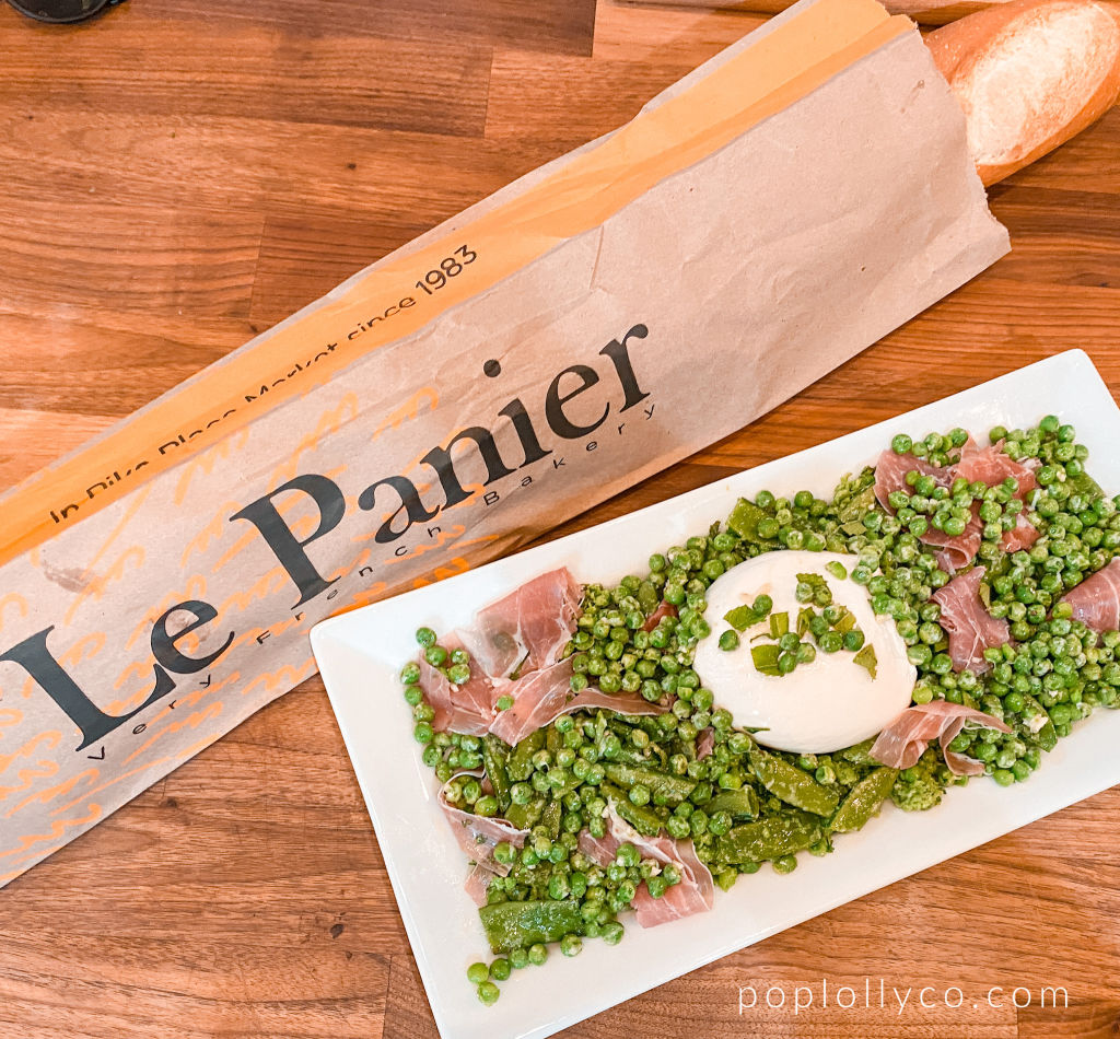 Le Panier bakery in Seatlle | snap pea burrata prosciutto appetizer | Poplolly co
