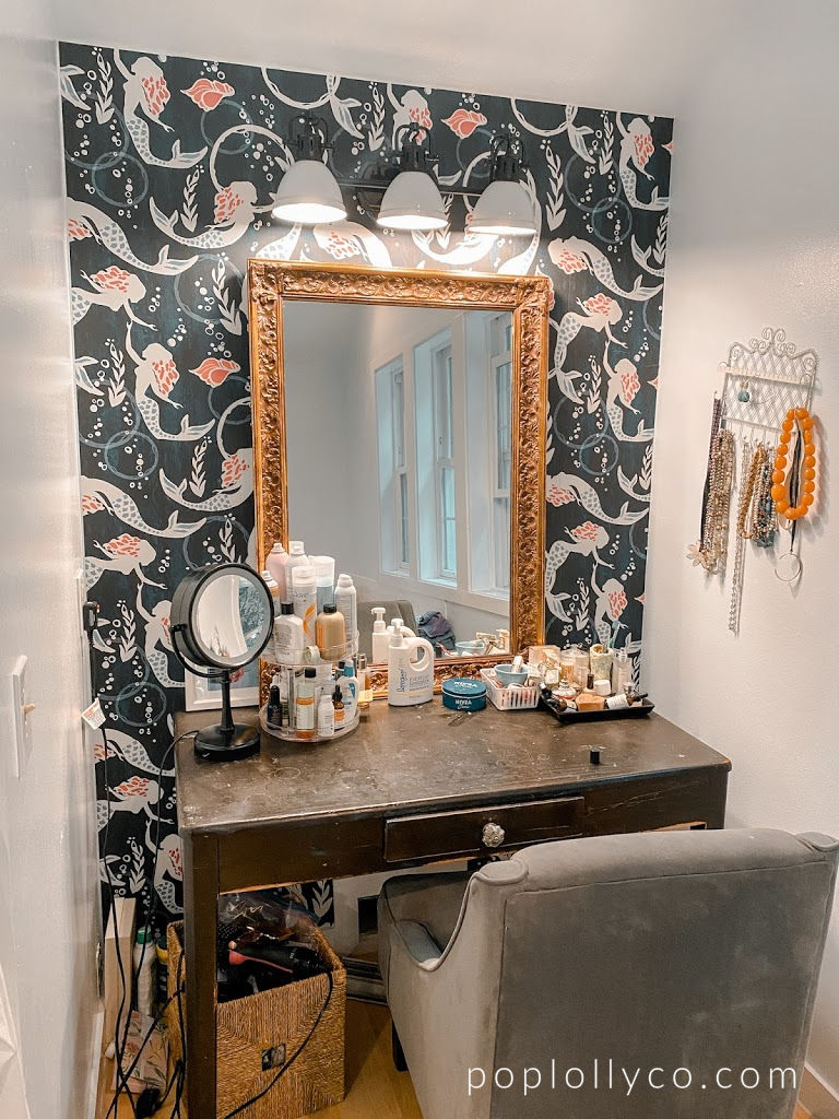 makeup vanity | dressing area | makeup corner | mermaid wallpaper | Poplolly co