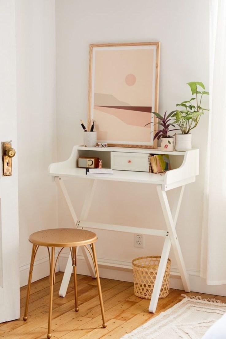 boho office ideas | simple | white | neutral | rattan | white desk | Poplolly co