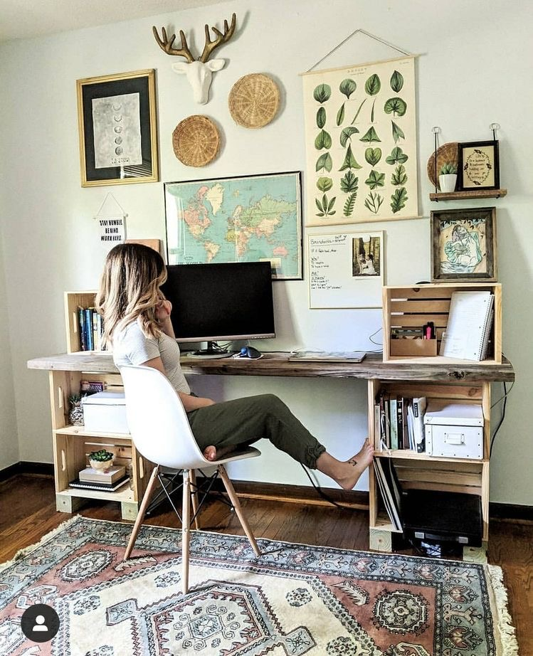 simple neutral eclectic home office | Poplolly co